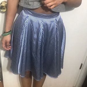 Circle skirt, satin, blue & white,seersucker print